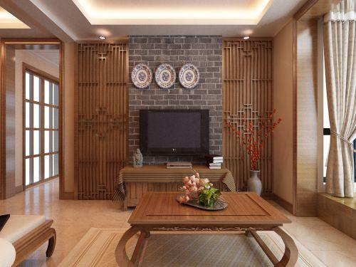 中式古典一居室客厅飘窗装修图片