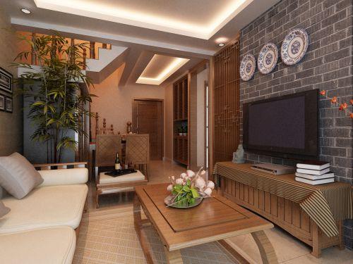 中式古典一居室客厅背景墙装修效果图