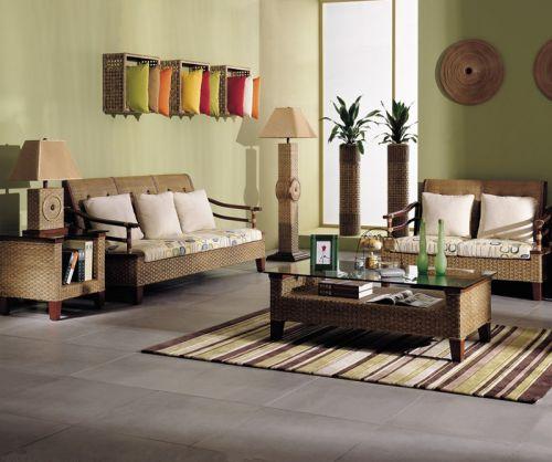 草绿色淡雅古典风格客厅装修效果图