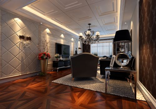 新古典风格三居室客厅背景墙装修效果图欣赏
