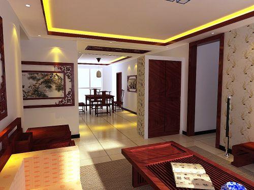 中式古典三居室客厅装修图片