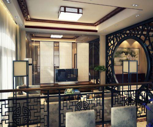 苏州园林式古典风格客厅电视背景墙装修效果图