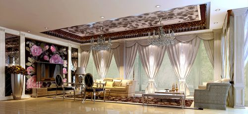 新古典风格别墅客厅吊顶装修效果图欣赏