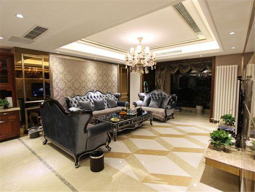 典雅新古典风格客厅沙发背景墙壁纸装修图片