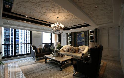 新古典风格黑白对比客厅沙发装修图