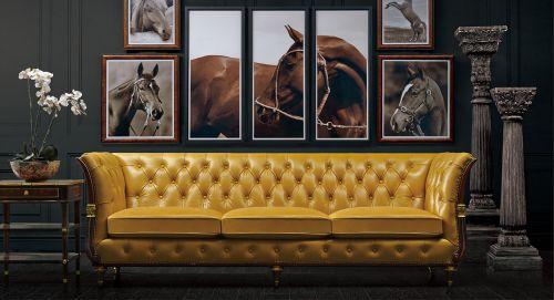大气新古典风格客厅黄色皮沙发装修图