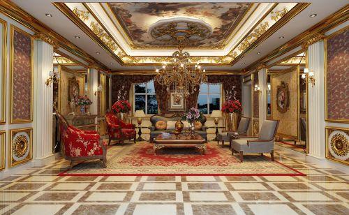 西式古典四居室客厅飘窗装修效果图大全