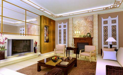 中式古典三居室客厅背景墙装修效果图大全