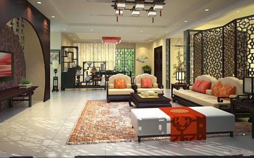 中式古典三居室客厅原木色博古架装修效果图