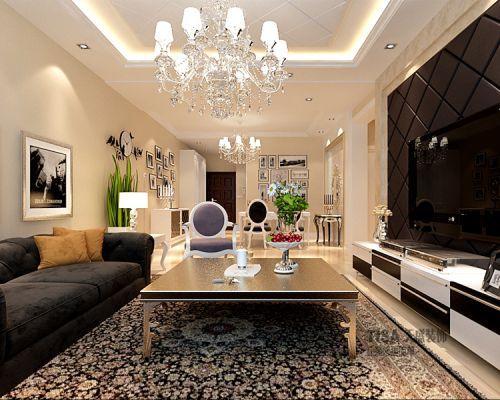 新古典风格二居室客厅背景墙装修效果图欣赏