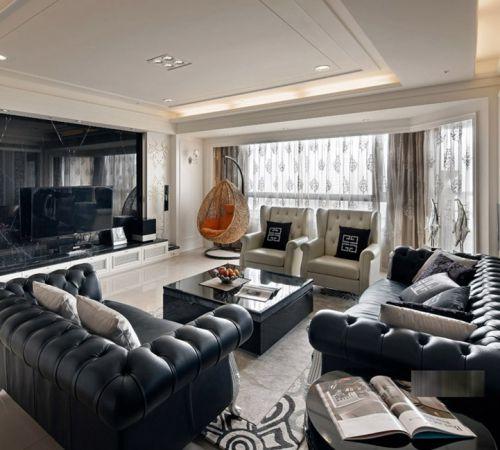 新古典风格二居室客厅吊顶装修效果图欣赏