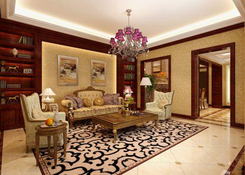 西式古典六居室客厅壁纸装修效果图大全