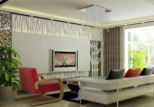 新古典三居室客厅白色隐形门装修效果图