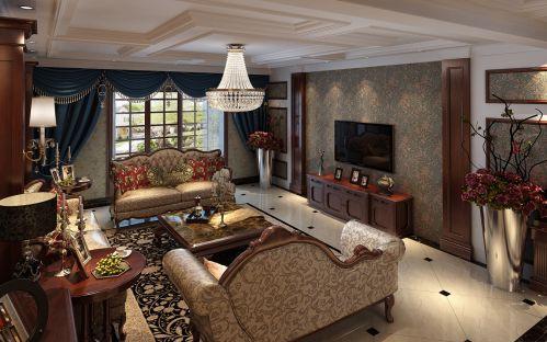 西式古典四居室客厅窗帘装修效果图欣赏