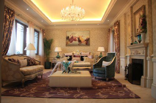 美式古典三居室客厅装修效果图大全