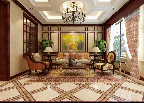西式古典五居室客厅背景墙装修效果图