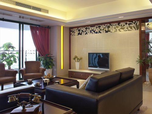 中式古典三居室客厅影视墙装修效果图大全