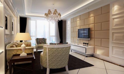 新古典风格二居室客厅吊顶装修效果图