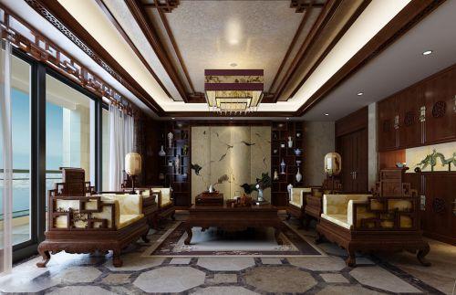 中式古典三居室客厅装修效果图欣赏