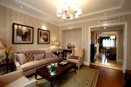 新古典风格三居室客厅照片墙装修效果图