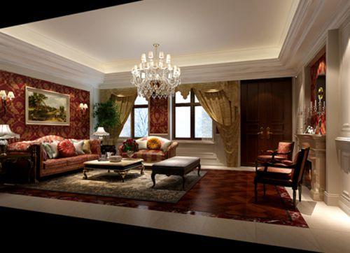 西式古典五居室客厅影视墙装修效果图大全