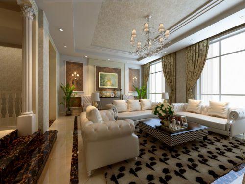 中式古典五居室客厅装修效果图大全