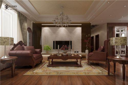 中式古典四居室客厅背景墙装修效果图