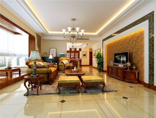 中式古典四居室客厅装修效果图