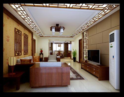 中式古典三居室客厅装修效果图