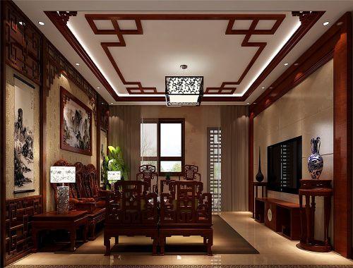 中式古典别墅客厅吊顶装修效果图欣赏