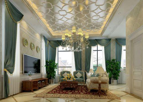 新古典风格别墅客厅窗帘装修图片