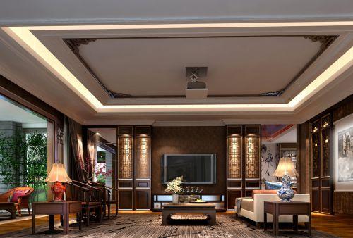 中式古典六居室客厅背景墙装修效果图