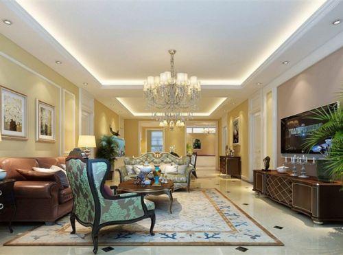 西式古典三居室客厅吊顶装修效果图欣赏