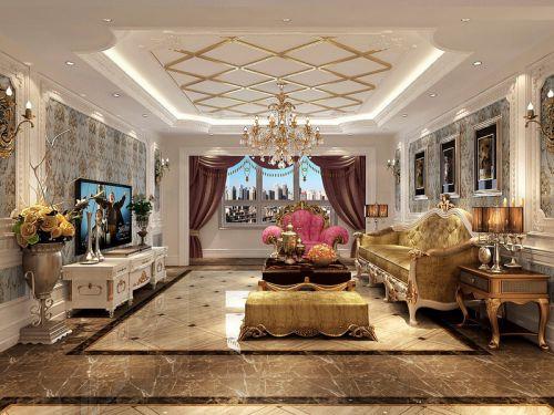 西式古典四居室客厅吊顶装修效果图欣赏