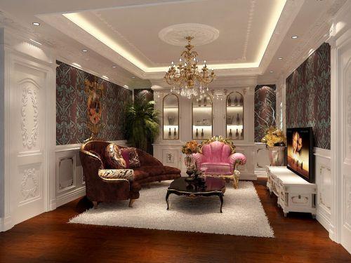 西式古典四居室客厅吊顶装修效果图大全