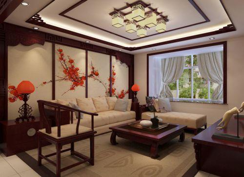 中式古典三居室客厅隔断装修效果图
