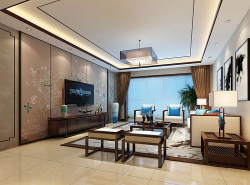 中式古典三居室客厅影视墙装修效果图