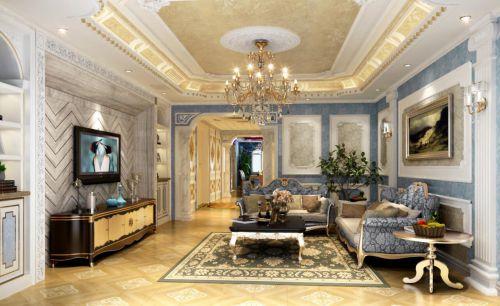 新古典风格四居室客厅照片墙装修图片