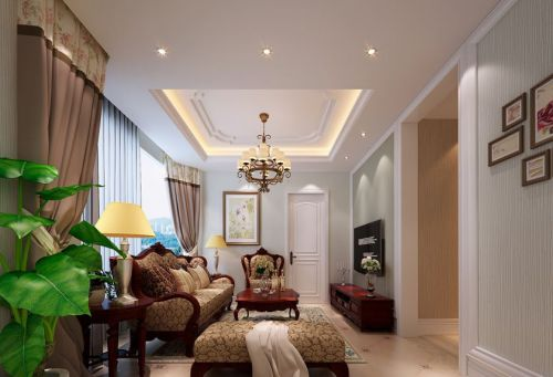 新古典风格四居室客厅电视柜装修图片