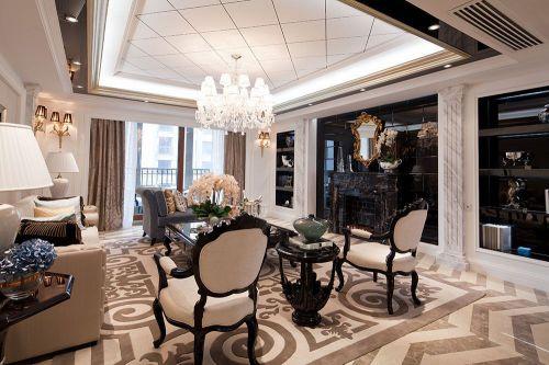新古典风格四居室客厅窗帘装修效果图大全