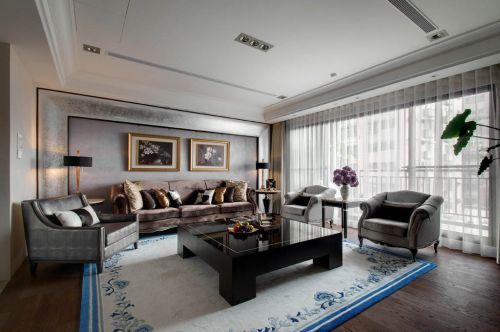 新古典风格二居室客厅背景墙装修图片