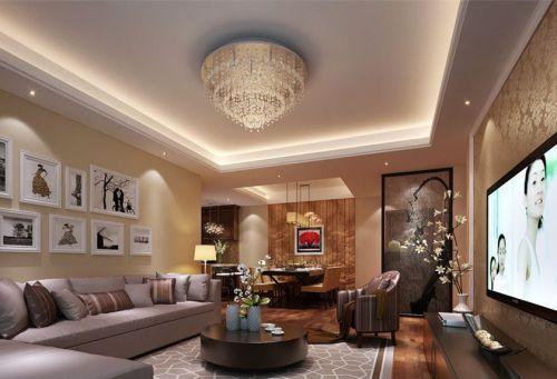 新古典风格三居室客厅照片墙装修图片
