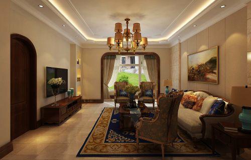 西式古典三居室客厅背景墙装修效果图