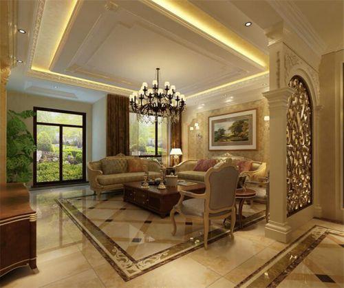 新古典风格别墅客厅背景墙装修效果图欣赏