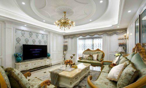 中式古典三居室客厅照片墙装修效果图大全