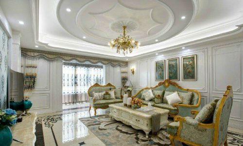 中式古典三居室客厅吊顶装修效果图大全