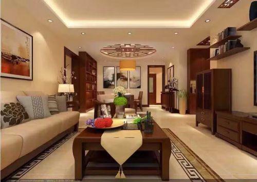中式古典三居室客厅窗帘装修图片