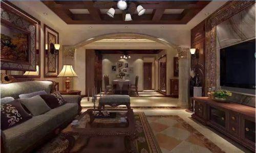 中式古典二居室客厅吊顶装修图片