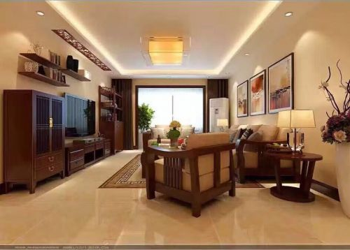 中式古典二居室客厅吊顶装修效果图大全