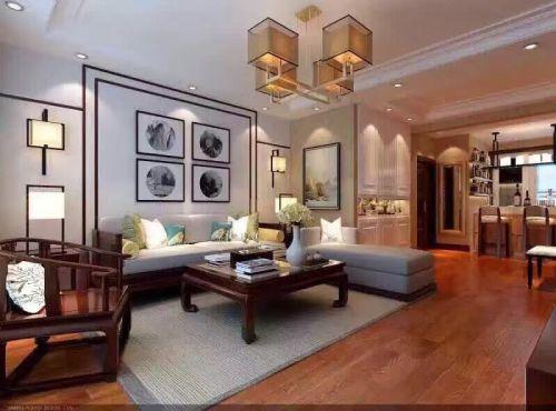 中式古典二居室客厅背景墙装修效果图